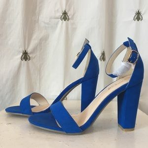 Electric Blue Bamboo Ankle Wrap Sandals, Heels, 8